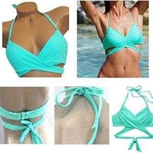 blue victoria secret wrap bikini top